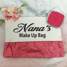 Nana Make Up Bag & Mirror Set Pink Glitter