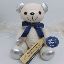Personalised Baby Shower Signature Bear - Blue Bow