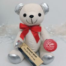 Personalised Birthday Signature Bear Red Bow