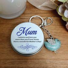 Personalised Mum Blue Owl Keyring Gift