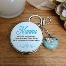 Personalised Nana Blue Bird Keyring Gift