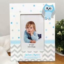 1st Birthday Blue Owl Photo Frame 6x4