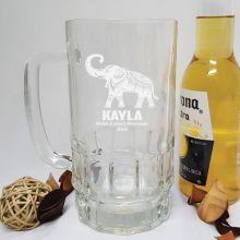 Personalised Engraved Glass Beer Stein (F)