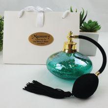 Mum Perfume Bottle w Personalised Bag - Green Gold Fleck