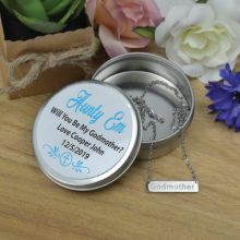 Godmother Silver Bar Necklace with Personalised Tin