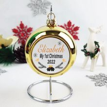 Personalised 1st Christmas Bauble - Gold