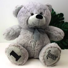 Personalised 1st Birthday Teddy Bear 40cm PlushGrey