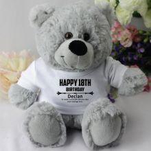 Personalised 18th Birthday Teddy Bear - Grey
