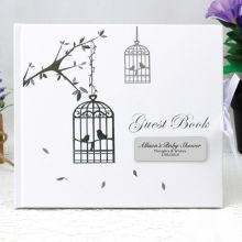 Personalised Baby Shower Guest Book - Bird Cage