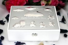 Baby Keepsake Box White Wood