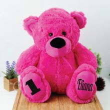 Personalised 1st Birthday Teddy Bear 40cm Plush  Hot Pink