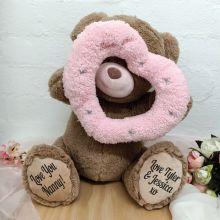 Nan Bear With Peek-a-Boo Pink Heart 40cm