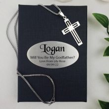 Godfather Cross Pendant Necklace in Personalised Box