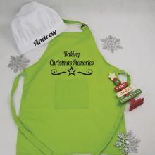 Personalised Kids Christmas Apron Lime