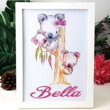 Personalised Glittered Framed Print - Koala