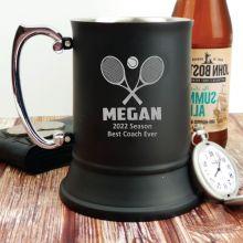 Tennis Coach Engraved Personalised Black Beer Stein Glass