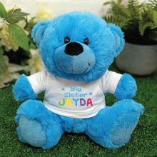 Big Sister Personalised Teddy Bear Bright Blue