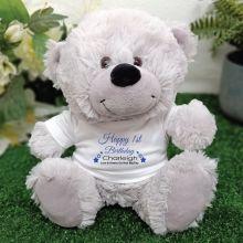 Personalised 1st Birthday Bear Grey Plush