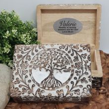 Personalised Tree Of Life Boho Carved Wooden Box