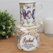 Godmother Mug with Personalised Gift Box - Owls