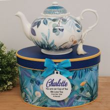 Teapot in Personalised Gift Box - Tropical Blue