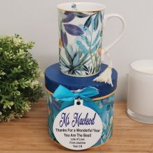 Teacher Mug with Personalised Gift Box - Tropical Blue