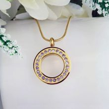 Gold Circle Pendant Memorial Cremation Urn Necklace