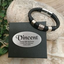 60th Birthday Braided Leather Bracelet Gift Boxed