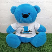 1st Birthday Personalised Bear with T-Shirt - Blue 40cm