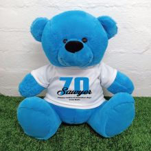 70th Birthday Personalised Bear with T-Shirt - Blue 40cm