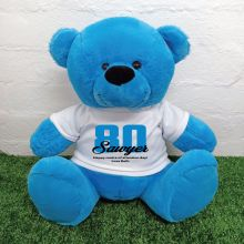 80th Birthday Personalised Bear with T-Shirt - Blue 40cm