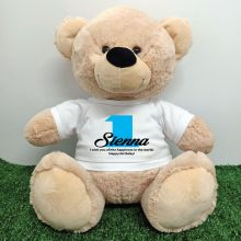 1st Birthday Personalised Bear with T-Shirt - Cream  40cm