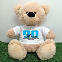 90th Birthday Personalised Bear with T-Shirt - Cream  40cm