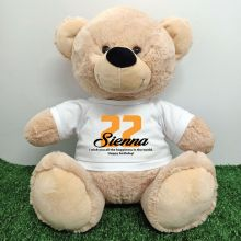 Birthday Personalised Bear with T-Shirt - Cream  40cm