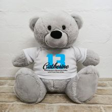13th Birthday Personalised Bear with T-Shirt - Grey 40cm