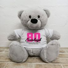 80th Birthday Personalised Bear with T-Shirt - Grey 40cm