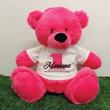 1st Birthday Personalised Bear with T-Shirt - Hot Pink 40cm