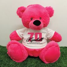 70th Birthday Personalised Bear with T-Shirt - Hot Pink 40cm