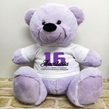 16th Birthday Personalised Bear with T-Shirt - Lavender 40cm