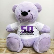 50th Birthday Personalised Bear with T-Shirt - Lavender 40cm
