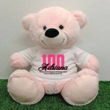 100th Birthday Personalised Bear with T-Shirt - Light Pink 40cm