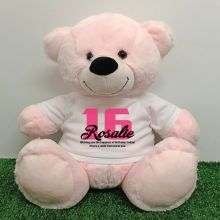 16th Birthday Personalised Bear with T-Shirt - Light Pink 40cm