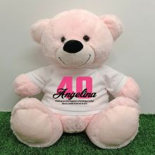 40th Birthday Personalised Bear with T-Shirt - Light Pink 40cm