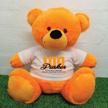 100th Birthday Personalised Bear with T-Shirt - Orange 40cm