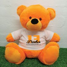 13th Birthday Personalised Bear with T-Shirt - Orange 40cm