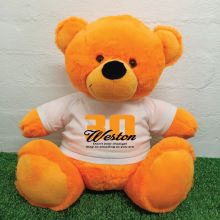 30th Birthday Personalised Bear with T-Shirt - Orange 40cm