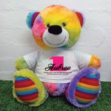 1st Birthday Personalised Bear with T-Shirt - Rainbow  40cm