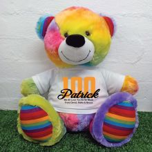 100th Birthday Personalised Bear with T-Shirt - Rainbow  40cm