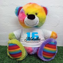 16th Birthday Personalised Bear with T-Shirt - Rainbow  40cm