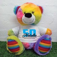 50th Birthday Personalised Bear with T-Shirt - Rainbow  40cm